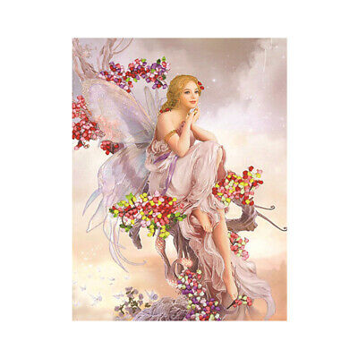 Ribbon Embroidery Cross Stitch Kit Angel Painting for DIY Home Decor 48x60cm