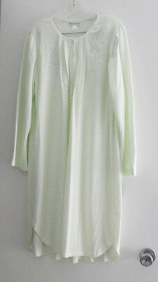 Miss Elaine Cuddleknit Brushed Honeycomb Knit Short Gown Sage 236813 Sz S - NWT