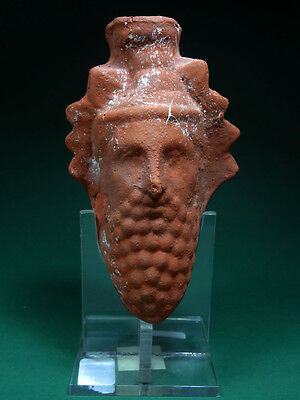 Ancient Wine Flask Of God Dionysus Egypt, Late Period 300-100 Bc