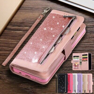 For Samsung Galaxy S10 Plus S10e S10 Bling Zipper Leather Wallet Flip Case Cover