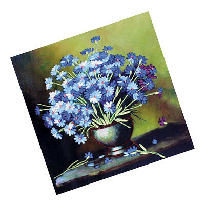DIY Cross Stitch Kit Ribbon Embroidery Blue Daisy Handcraft Art Home Decor