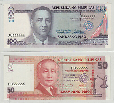 philippines x 2 100 piso and 50 piso solid serial numbers unc