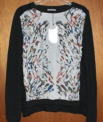 4511205bc98be4 Nwt Zara W B Collection LARGE Top Mixed Media Gray Knit Sweater Floral Front  NEW