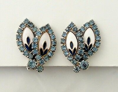 Vintage WEISS Earrings Rhinestones White Navy Enamel Center Clip SIgned