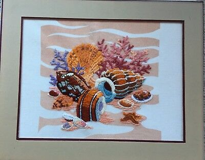 Vintage Sunset Designs After the Tide 2204 Crewel Completed Unframed