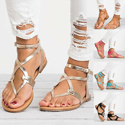 6738254843c8 Women Gladiator Roman Flat Flip Flops Sandals Beach Ankle Strappy Open Toe  Shoes