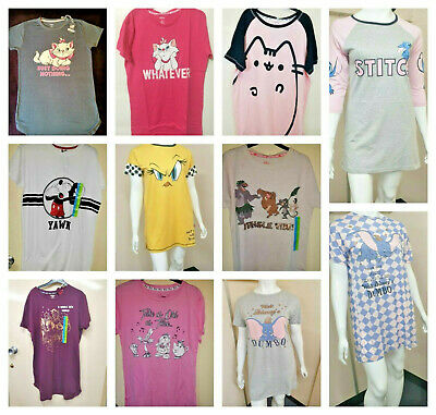 Disney character Print Short Sleeves Nighty Long T-shirt Nightdress Pj's Primark