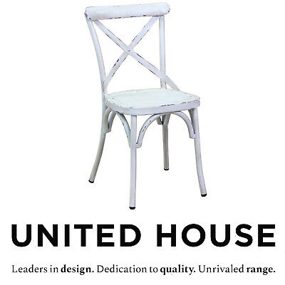 New Vintage French Provincial Style White Cross Back Steel Dining Chair Chic