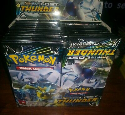 Pokemon 10 LOST THUNDER Booster Pack Lot - Factory Sealed Cards From Box
