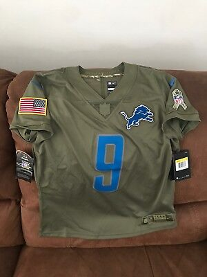 d2f1ede50 Nike Salute To Service Detroit Lions Matthew Stafford Foodball Jersey NWT  Size S