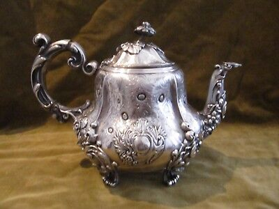 Gorgeous 1850 french sterling silver large tea pot rococo st flowers 854g 30oz