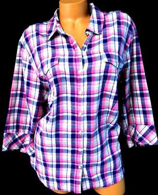 384fe12c459 Riders grey pink plus size plaid 3 4 sleeve flap pockets button down top 2X