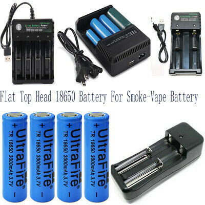 18650 flat top battery 3000mAh High Drain Rechargeable for Vape1 Battery+Charger