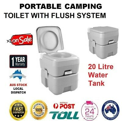20L PORTABLE TOILET Camping Picnic Loo Seat Porta Potty WITH FLUSH SYSTEM NEW