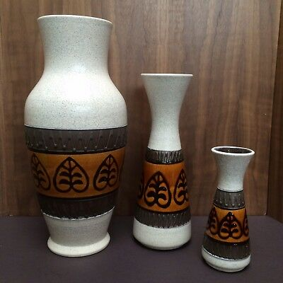 "Set Of 3 Unusual West German Mid Century Pottery Vases Matched Set 12"" Germany"