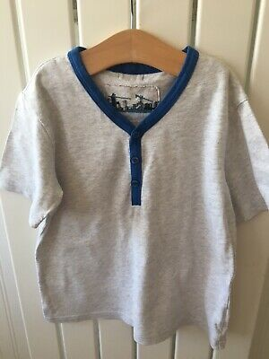Little Boys Clothes 6-7yrs - Grey Mark Blue Trim Top/T-Shirt By NEXT FREE POST🐳