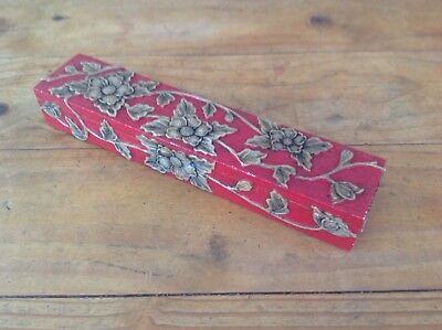 CARVED & PAINTED STONE CHOPSTICKS BOX 28cm x 6cm x 4cm w/ 21 ROSEWOOD CHOPSTICKS