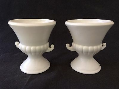PAIR  8cm TALL OFF WHITE CERAMIC URN FORM CANDLE HOLDERS