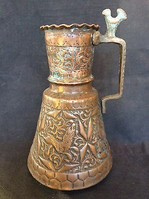 VINTAGE 35cm TALL HEAVY GRADE COPPER & BRASS HANDLED JUG