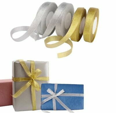 23 Metres Full Roll Berisfords Sparkly Lame Ribbon Gold Silver Glitter 7mm 15mm