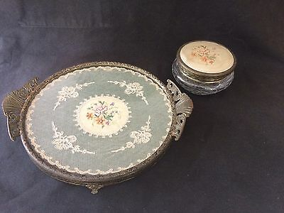VINTAGE BRASS RIMMED NEEDLEPOINT GLASS TRINKET BOX 12cm D & FOOTED TRAY 24cm D