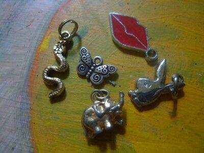 Vintage Lot of 5 Animal charms Pendants  Snake Butterfly - Estate -2 post FREE
