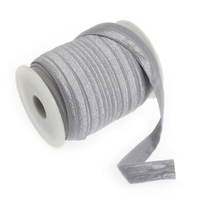 Fold Over Elastic - 16mm - Silver - Per Metre