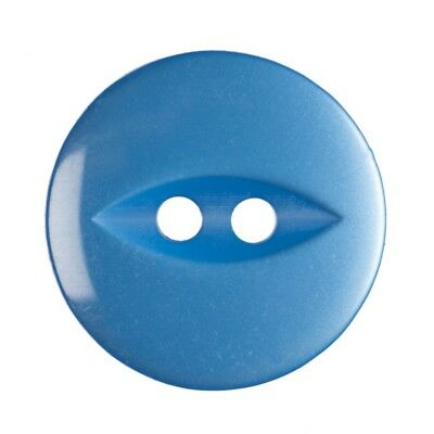 Round Fish Eye Button 2 Hole - Bright Blue - 16mm / 26L