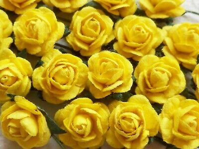 100! Cute Handmade Mulberry Paper Roses - 10mm - Easter Yellow Embellishments!