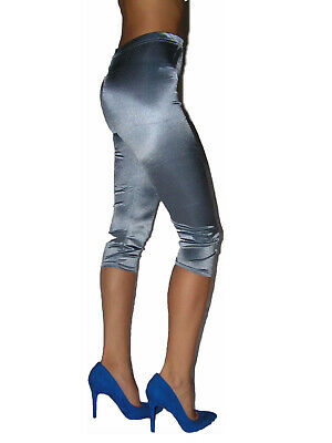 Damen Capri Leggings Leggings Raffungen Metallic Look Gr 36-40