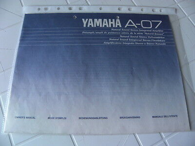 Yamaha  A-07 Owner's Manual  Operating Instructions Istruzioni