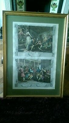 19th Century Hand Coloured Engraving The Idle Prentice Plates 9 & 10 Hogarth