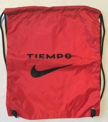6fe2c2fce1aa Nike Tiempo Football Backpack Drawstring Shoe Bag Soccer Cleat Sack Black  Red