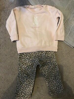 Next Girls Leopard Jeans 6-9 M Benetton Jumper 9-12 Months