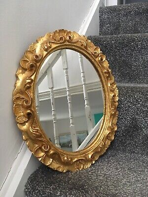 Heavily Gilded Vintage Gold Mirror Made In Italy Regency Rococo Baroque Style