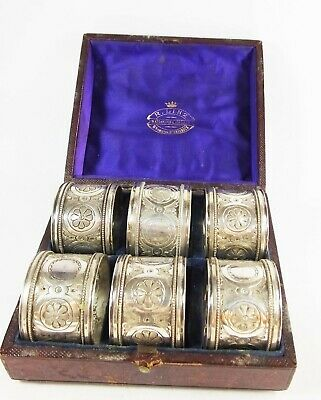 Antique Victorian quality set of 6 silver plated embossed napkin rings boxed