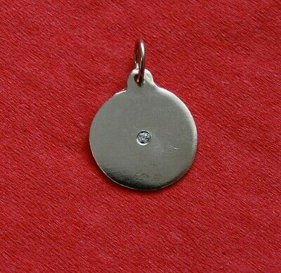 HELEN FICALORA 14K White Gold Disk Charm with Diamond | No Monogram (no sign)