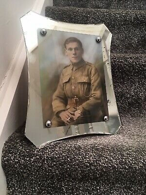 Genuine Art Deco Shield Shaped Mirrored Wall / Table Photo Frame Soldier Picture