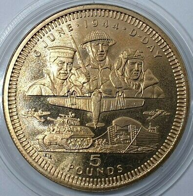 Gibraltar Five Pound £5 QEII D Day 50th Anniversary KM#309 Proof Gold Tone Coin