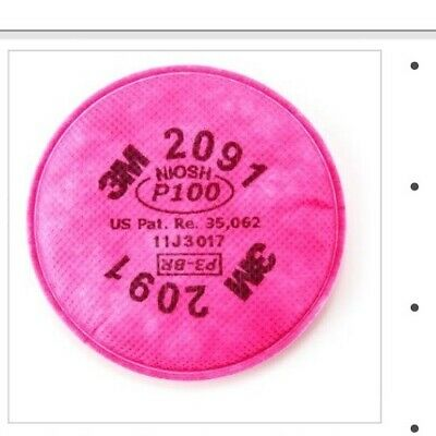 3M 2091 Particulate Filter P100 for 5000 6000 7000 and FF-400 Series Dust Masks