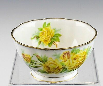 Very Nice Royal Albert Tea Rose Yellow Pattern Footed Cranberry Bowl England