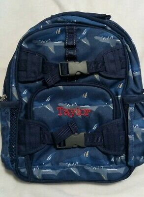 e4c6abebb5b2 Pottery Barn Kids Mackenzie Mini Backpack Blue Shark Mono Taylor New Tags