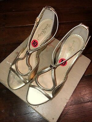 """8acce8940 LILLY PULITZER Janie Leather 4"""" Wedge Heels Sandals Gold Ankle Straps 10 M  NEW"""