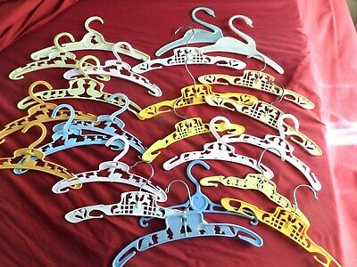 23  Vintage Plastic Baby Child's Clothes Hangers Ducks Babys Train Lambs Humpty
