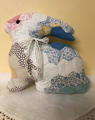 Prim Vintage Quilted Bunny Rabbit Pillow Shabby Chic