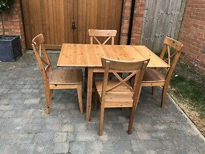 Ikea Wooden Folding Dining Table And Four Chairs 3500 Picclick Uk