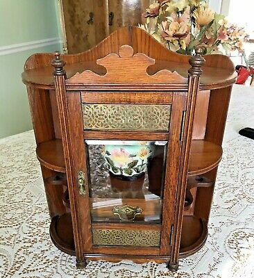 Vintage Antique English Victorian Oak Tobacco Corner Cabinet Case W/Jar