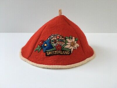 f616bf0682d0a Vintage 1950 s Swiss Skull Cap Hat Embroidered w  Switzerland Patch - Red  Felt