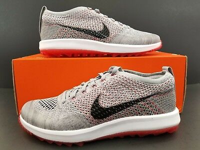 2df27b93720c Nike Flyknit Racer G Golf Shoes Wolf Grey Solar Red 909756-002 Men s Size  8.5