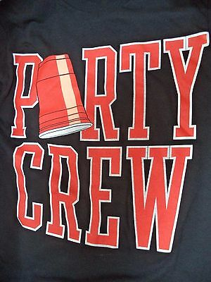 Party Crew T Shirt Black Size Small Preshrunk Cotton by Delta NWOT Holiday Party